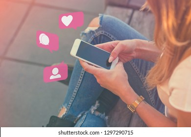 Young Adult Girl Influencer Using Social Media on Smartphone on Outdoor, Like, Follower, Comment Bubble Icons
