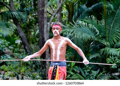 Young adult Indigenous Australianman holding a spear in Queensland, Australia.