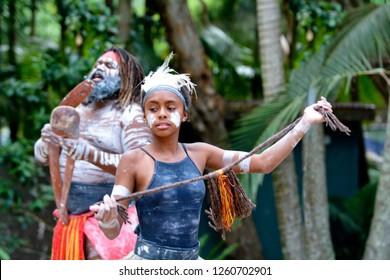 Young adult Indigenous Australianwoman dancing in Queensland, Australia.