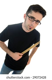 A young adult male with drum sticks