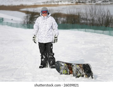 young adult male snowboarder