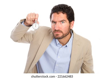 young adult man and a stopwatch