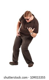Young adult playing air guitar and makes some gestures, full body shoot, isolated on white.