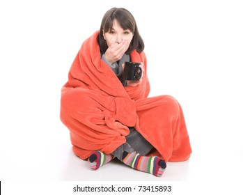young adult sick woman. over white background