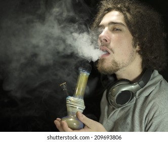 Young adult smoking marijuana