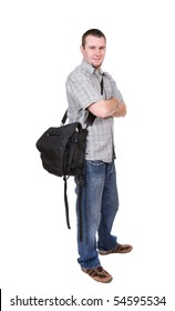 young adult student over white background