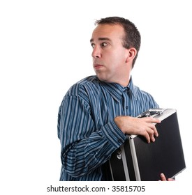 A young adult is trying to protect his case of private documents, isolated against a white background