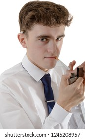 Young adult wearing office attire with a cigarette