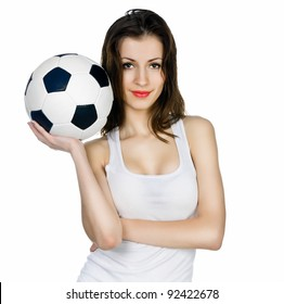 young adult woman with ball. over white background