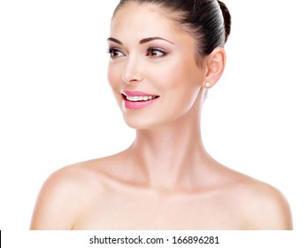 young adult woman with beautiful face - isolated on white. Skin care concept.
