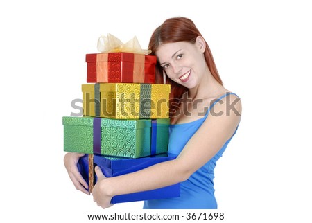 Young Adult Woman In Casual Clothes Holding Or Carrying Pile Of Christmas Birthday Gifts Isolated