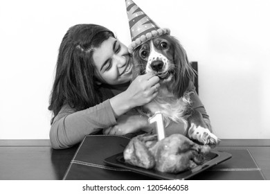 Young adult woman celebrating the first anniversary of her Cocker Spaniel dog pet.  The animal has a birthday hat and a candle over a roasted chicken