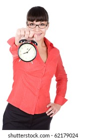 young adult woman with clock. over white background