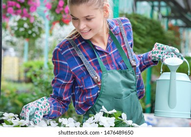 Young adult woman gardening in a greenhouse, planting some flowers. green busines