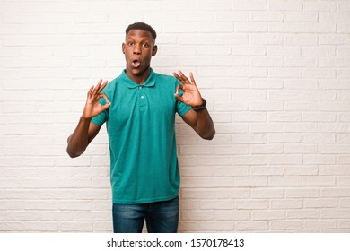 young african american black man feeling shocked, amazed and surprised, showing approval making okay sign with both hands against brick wall
