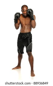 Young African American Boxer standing isolated on a white background