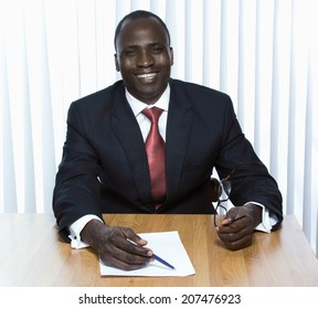 Young african american businessman in the office