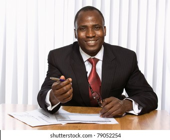 A young african american businessman in the office