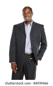 Young African American Businessman wearing a suit isolated on a white background