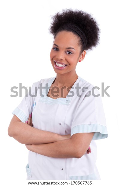 Young african american doctor with folded arms - Black people, isolated on white background