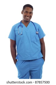 Young African American doctor in scrubs with hands in pockets isolated on white