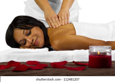 young African American female getting a massage