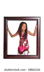 Young African American girl jumping in the air  Isolated over white