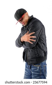 Young African American hip hop man posing