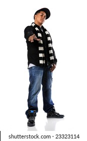Young African american hip-hop man pointing