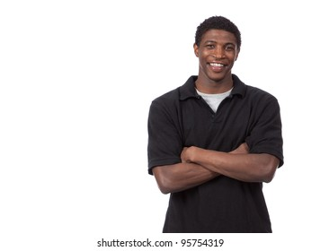 Young African American Male on a white background