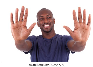 Young African American man his hands palm, isolated on white background