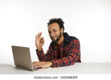 Young african american man on laptop computer