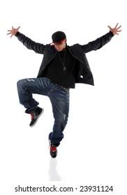 Young African American performing hip hop dancing