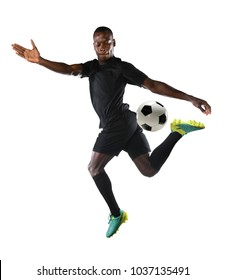 Young African American soccer player isolated over white background