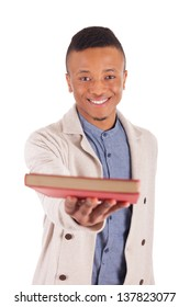 young African American student with a book isolated