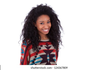 Young African American teenage girl, isolated on white background