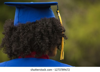 Young African American woman excited about her graduation.