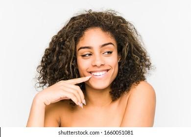 Young african american woman face closeup
