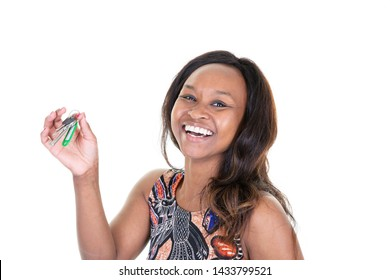 young african american woman holding an home house key