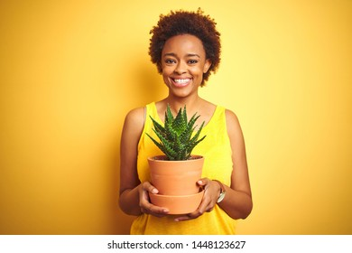 Young african american woman holding cactus pot over isolated yellow background with a happy face standing and smiling with a confident smile showing teeth