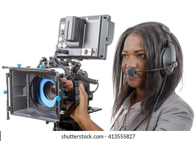 young African American women with professional video camera and headphone 7c4e2ec062
