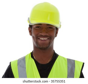 Young African American worker wearing the latest high vizibility safety equipment