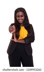 Young african business woman pointing at you, isolated over white