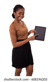 Young african business woman presenting your product on a tablet computer