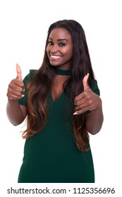Young african business woman signaling ok, isolated over white background