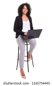 Young african business woman working with a laptop pc, isolated over white