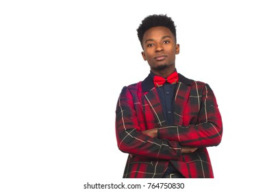 young african businessman crossed arms white background bow tie red plaid suit