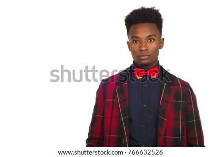 young african businessman white background bow tie red plaid suit