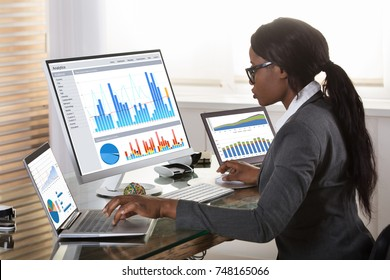 Young African Businesswoman Looking At Graphs On Computer In Office