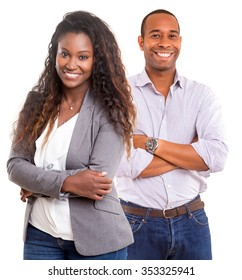 Young african couple smiling isolated over a white background